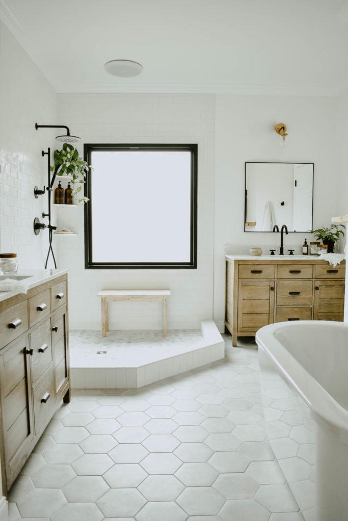 White Subway Tile Bathroom Cement Tile Cement Tile